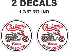 "2   -   1 7/8"" Round Cushman V-Twin Motor Scooter Truckster Eagle Vinyl Decals"