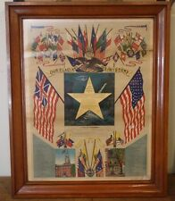 Rare Star Spangled Banner United States Flag History Antique Lithograph Print