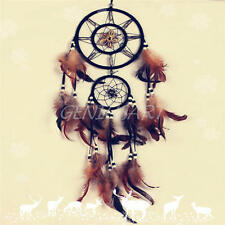 Dream Catcher With feathers Wall Hanging Decoration Decor Bead Ornament Brown
