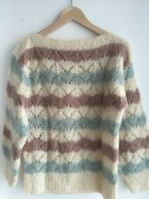 Lovely •Handmade• Mohair Wool Knit Sweater Top Jumper Cardigan Sz S 8 10 12 EUC