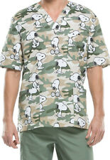 Cherokee Tooniforms Scrubs Snoopy Camo Hound Top Sz Medium NWT