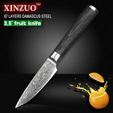 "XINZUO 3.5"" fruit knife Damascus kitchen knife salad table paring knife steel"