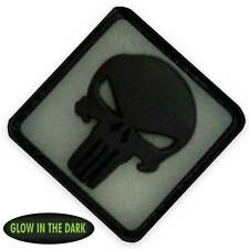 3D PVC Punisher Military Tactical Army Forces Morale Patch Back Glow in the Dark