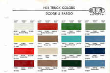 1972 DODGE TRUCKS VAN PICKUP FARGO 72 PAINT CHIPS DUPONT