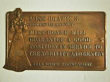 COPPER TONE METAL PLAQUE MISS HOARE'S DOMESTIC AGENCY