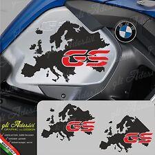 2 Adesivi Fianco Serbatoio Moto BMW R 1200 gs adventure LC Mappa Europa GS red