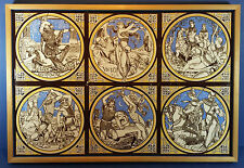 Box Framed - Six Minton China Works Moyr Smith Idylls of the King Design Tiles