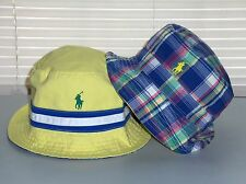 POLO RALPH LAUREN Bucket Hat, REVERSIBLE Cap, Pony, Chino, Yellow, Plaid, S/M