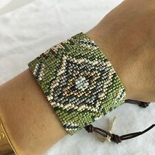 "NEW CHAN LUU Green Gold Brown Beaded Seed Leather Wide Bracelet 8"" $260"