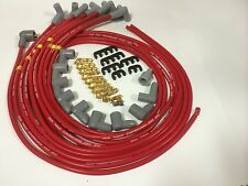 CHEVY CHEVROLET GM SPARK PLUG LEADS 8.5MM SILICON  black female cap red