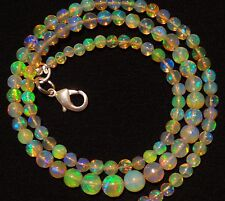 38Cts Ethiopian Welo Opal Rainbow Fire 3-6MM Round Ball Bead Necklace Silver 17""