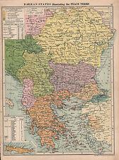 1929 MAP BALKAN STATES ILLUSTRATING THE PEACE TERMS BULGARIA YUGOSLAVIA RUMANIA
