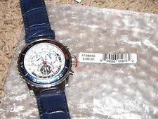 NEW NWT *NAUTICA* Men's Watch A14679G Chronograph $145 Blue/Red/Blue Leather
