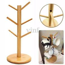 Wood 6 Mug Tree Stand Holder Hanging Coffee Tea Cup Saucer Kitchen Storage Rack