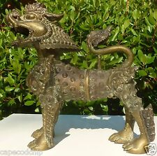 Antique Chinese Bronze Foo Dog - Exceptionally ornate - Verdigris patinated