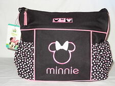Disney Minnie Mouse Black Pink Dots Baby Girl Large Shoulder Tote Diaper Bag