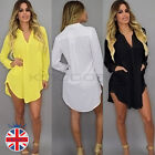 UK Womens Summer Beach Kaftan Shirt Dress Long Sleeve V Neck Chiffon Tops Blouse
