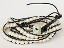 "30"" 6mm natural white freshwater pearls black leather necklace e2523"