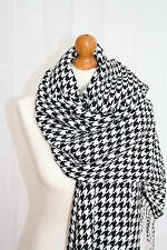 Womens Ladies Oversized Dogtooth Houndstooth Large  Scarf Pasmina Wrap Shawl