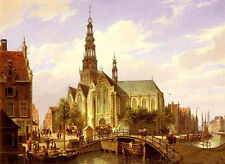"""Stunning Oil painting cityscape Old Dutch street with church on canvas 24""""x36"""""""