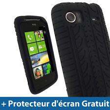 Noir Pneu Silicone Etui pour HTC 7 Mozart Windows Android Housse Coque Case
