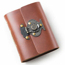 Ancicraft Pocket Leather Journal with Retro Flower Vase Lock A7 Blank Paper Gift