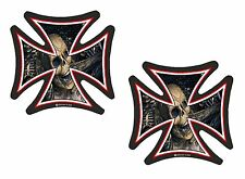 2pc Sml IRON CROSS EVIL SKULL Inside Motif Retro Biker vinyl car Helmet Sticker