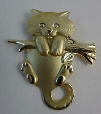 Fabulous JJ Signed CAT HANGING ON A BRANCH Brushed Gold tone brooch,EUC