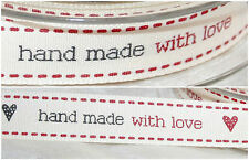-:- Hand Made With Love -:- Beresford's Ribbon - 15mm -  Crafts, Cards, Labels