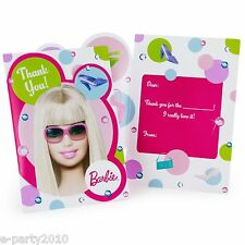 BARBIE All Doll'd Up THANK YOU NOTES (8) ~ Birthday Party Supplies Stationary