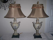 "2 Gold Traditional 30"" ornate Bedroom Table Lamps Bell Shades Tassel fringe"