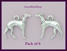 8 Antique Silver Colour 20 x 19mm Whippet Greyhound Dog 3D Charms