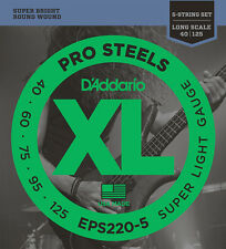 2 Sets D'Addario Pro Steels EPS220-5 Super Light Gauge 5 String Bass Strings