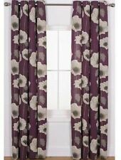 66x90 Purple Plum Elissia Poppy Ring Top Curtains Lounge Bedroom Eyelet Long
