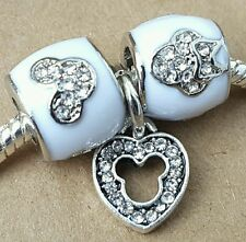 Disney White Crystal Minnie Mickey Rhinestone Mouse Heart European Beads Charms