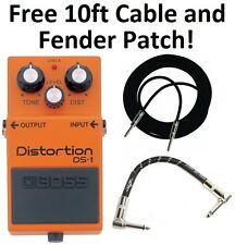 New Boss DS-1 Distortion Guitar Effect Pedal BUNDLE! 10ft Cable & Fender Patch!