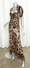ROBERTO CAVALLI Black+Tan Floral Short-Sleeve Ruched Mermaid Gown Dress 40/6
