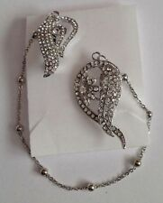 Paisley style Diamante double Brooch With Chain d5
