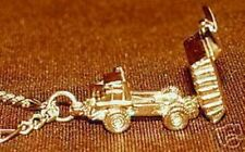 0280 Gold Plated DUMP TRUCK MOVABLE BED Charm pendant