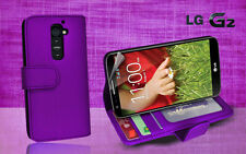 Purple Side Wallet Photo ID Leather Case Cover for LG G2 G 2 / D802 + Screen Gd