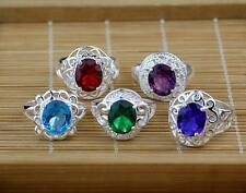 HOT 5PCS LF Plated 925 Silver Mixed Cubic Zirconia Rings Sz.6-9