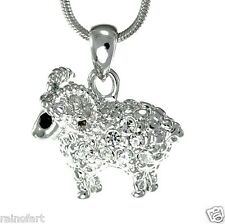 Ram Animal W Swarovski Crystal Aries Sheep Charm Pendant Necklace Jewelry Gift