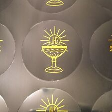 Communion Chalice Clear Seal Sticker For Favors Baptism, Invitations Gold 100/pk