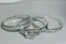 925 STERLING SILVER 3 RING SIMULATED DIAMOND ENGAGEMENT WEDDING SET Size 8