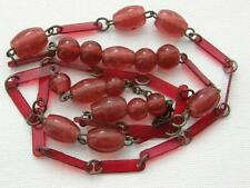 Antique Vintage Carnelian Red Glass Beads & Celluloid Necklace ~ For Repair