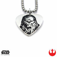 """Han Cholo STAR WARS Silver Chewbacca Guitar Pick Pendant Necklace 30"""" NEW"""