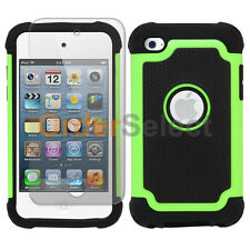 Hybrid Rugged Rubber Matte Case+Screen Guard for Apple iPod Touch 4 4th Green