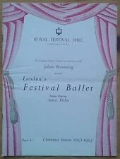 Christmas Season of Ballet programme London's Festival Ballet 12/1952 Nutcracker