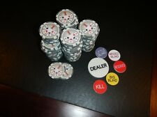 1000 White Royal Flush Spread Fan 11.5 gram Poker Chips + Dealer Button Set