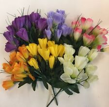 Artificial Silk Flowers - 6 X Spring Crocus Bunches Assorted Colours Job Lot